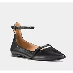 COACH Jody Flats Pointed Toe Ankle Strap Leather